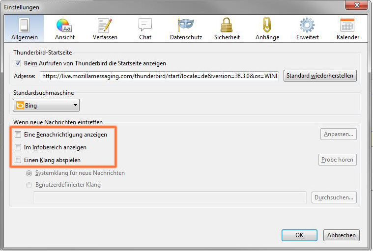 Mozilla Thunderbird: E-Mail-Benachrichtigungen deaktivieren